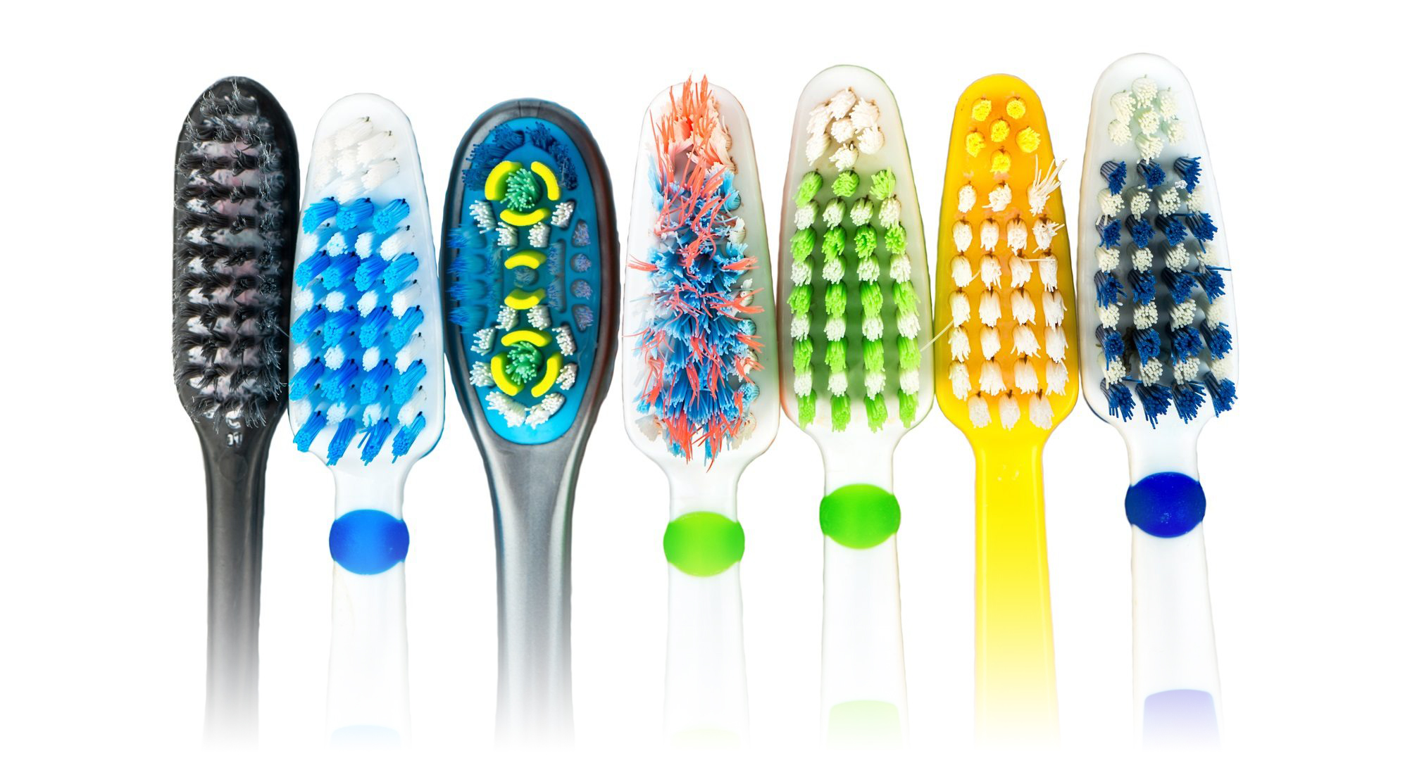 Different types of toothbrushes with bristles