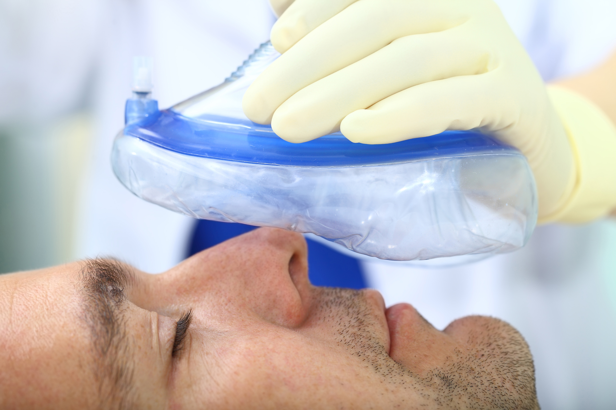 Man going under general anesthesia